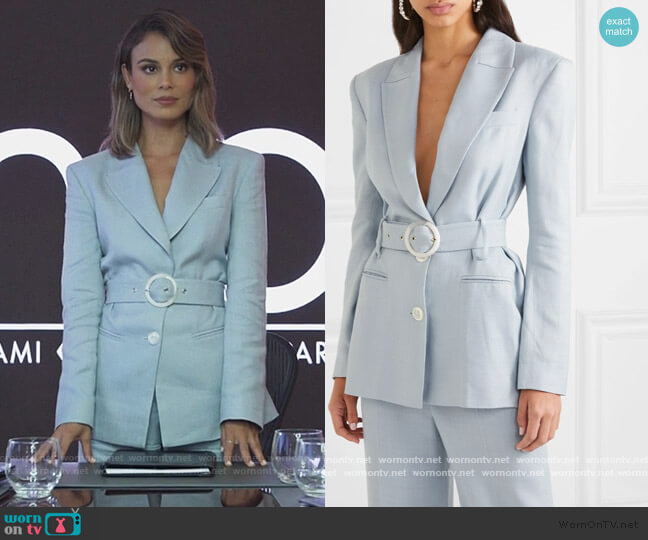 Hawkins belted woven blazer and Pants by De La Vali worn by Noa Hamilton (Nathalie Kelley) on The Baker & the Beauty