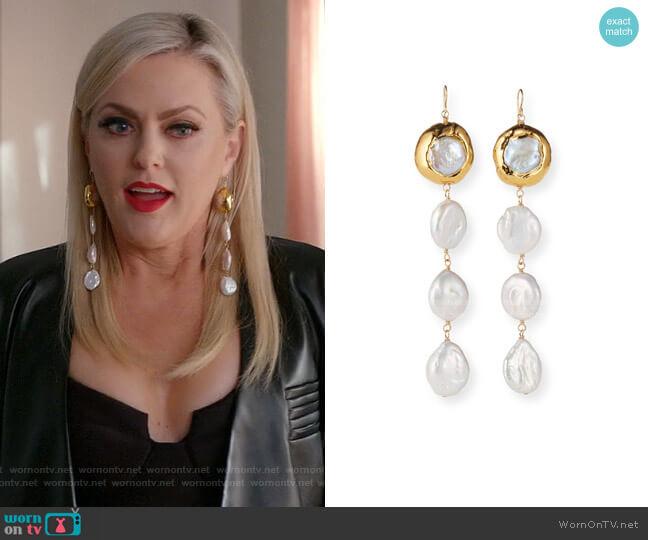 Triple Pearl Drop Earrings by Devon Leigh worn by Alexis Carrington (Elaine Hendrix) on Dynasty