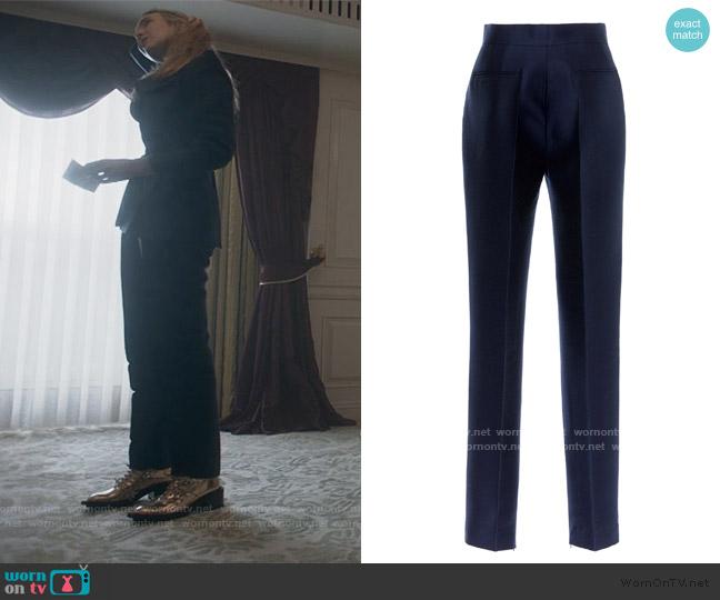 Virgin Wool High Waist Slim Leg Trousers by Dice Kayek worn by Villanelle (Jodie Comer) on Killing Eve