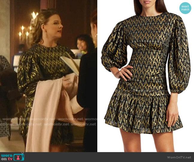 Donna Metallic Print Puff-Sleeve Mini Dress by Rhode worn by Amanda (Helene Yorke) on Katy Keene