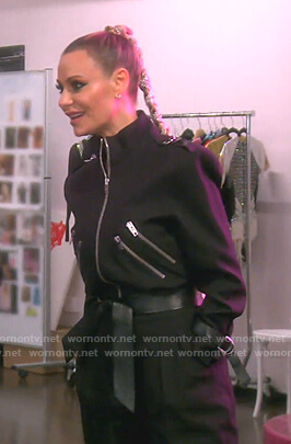Dorit's black belted jumpsuit on The Real Housewives of Beverly Hills