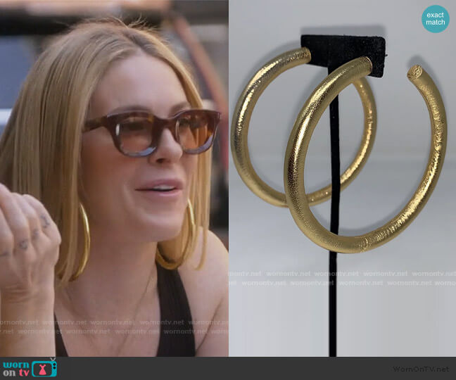 Liquid Gold Thin Hoops by EBJ worn by Leah McSweeney  on The Real Housewives of New York City