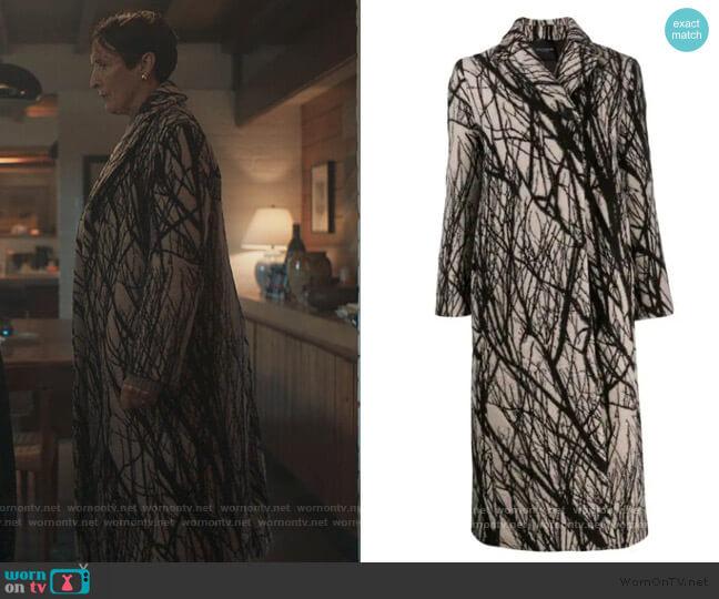 Tree Print Coat by Erika Cavallini worn by Fiona Shaw on Killing Eve