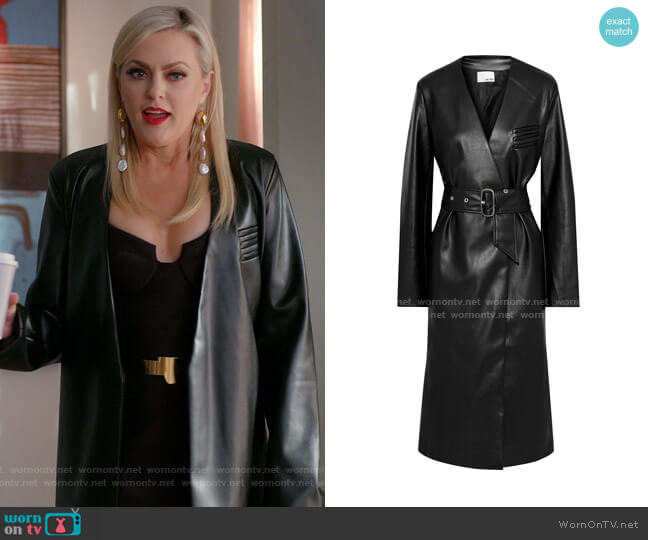 Belted Faux Leather Coat by Each x Other worn by Alexis Carrington (Elaine Hendrix) on Dynasty