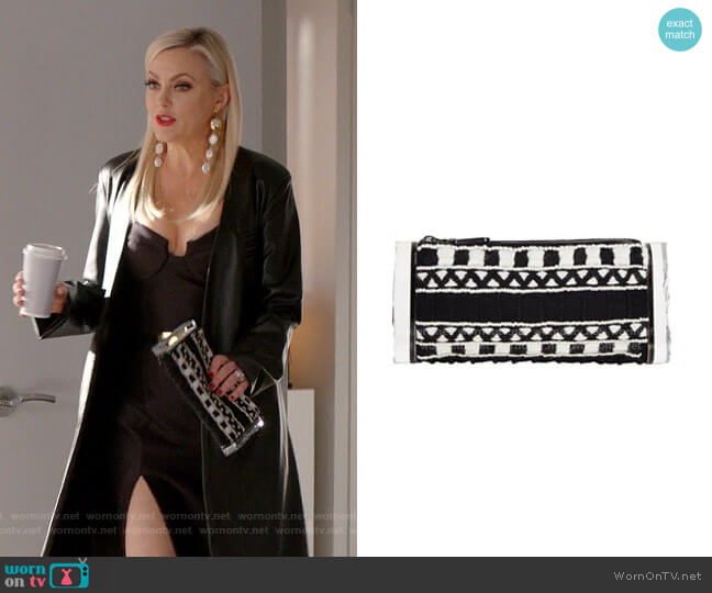 Soft Lara Embroidered Clutch Bag by Edie Parker worn by Alexis Carrington (Elaine Hendrix) on Dynasty