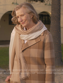 Eileen Wood's beige checked Coat on Dead to Me