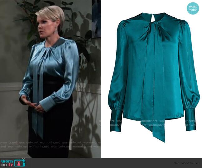 Bali Puff-Sleeve Silk Shirt by Elie Tahari worn by Ava Jerome (Maura West) on General Hospital