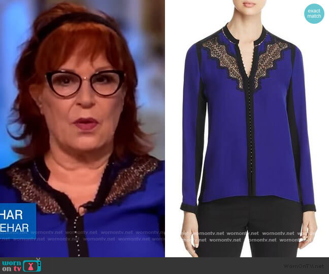 Denise Lace Trim Blouse by Elie Tahari worn by Joy Behar  on The View
