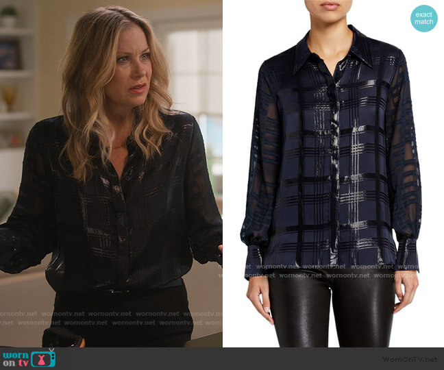 Shauna Lurex Plaid Blouse by Elie Tahari worn by Jen Harding (Christina Applegate) on Dead to Me