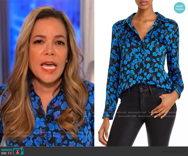 Leema Floral Satin Button-Down Shirt by Equipment worn by Sunny Hostin  on The View