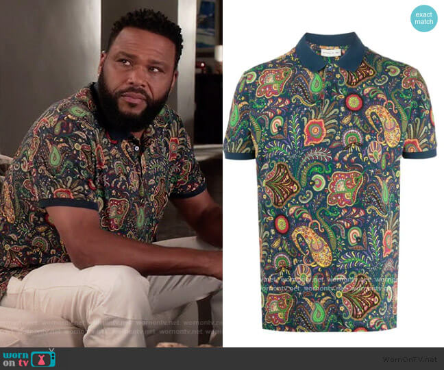 Paisley Print Polo Shirt by Etro worn by Andre Johnson (Anthony Anderson) on Blackish
