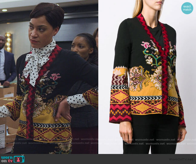 Slim-fit Patterned Cardigan by Etro worn by Lucca Quinn (Cush Jumbo) on The Good Fight
