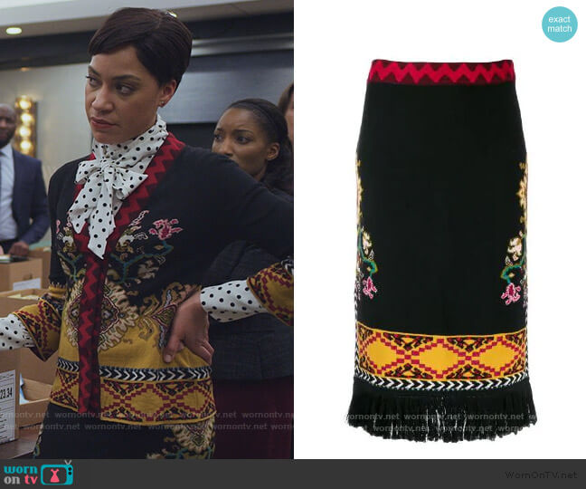 Woven Skirt by Etro worn by Lucca Quinn (Cush Jumbo) on The Good Fight