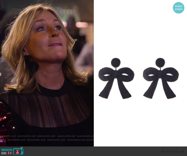 Large Black Bow Earrings by Haute worn by Sonja Morgan  on The Real Housewives of New York City