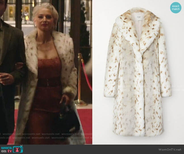 Snow Lynx Animal-Print Faux Fur Coat by Faz Not Fur worn by  Gloria Grandbilt (Katherine LaNasa) on Katy Keene