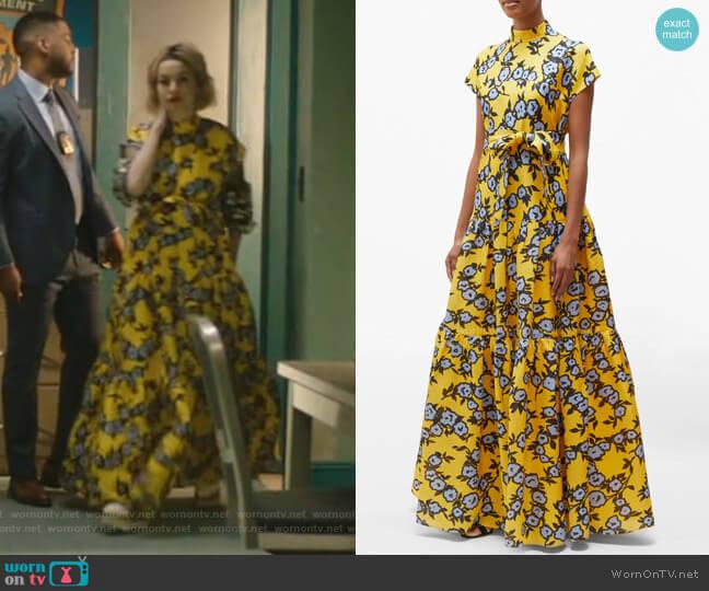 Floral-Print Gathered Silk-Gazar Gown by Carolina Herrera worn by Pepper Smith (Julia Chan) on Katy Keene