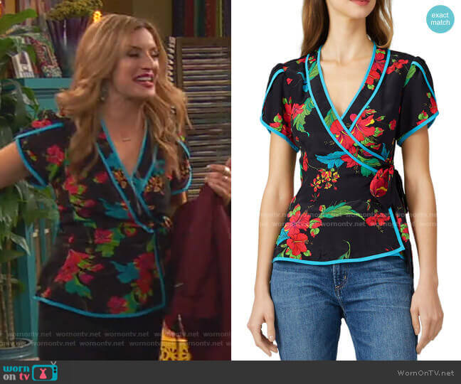 Floral Wrap Top by Nanette Lepore worn by Chelsea Grayson (Anneliese van der Pol) on Ravens Home
