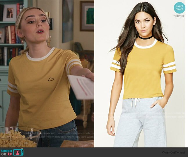 Yellow Slub Knit Varsity Stripe Tee by Forever 21 worn by Taylor Otto (Meg Donnelly) on American Housewife