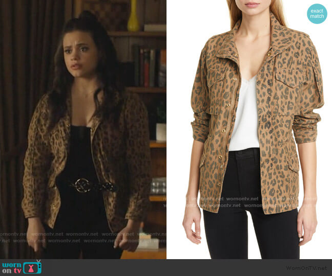 Spring Cheetah Service Jacket by Frame worn by Maggie Vera (Sarah Jeffery) on Charmed