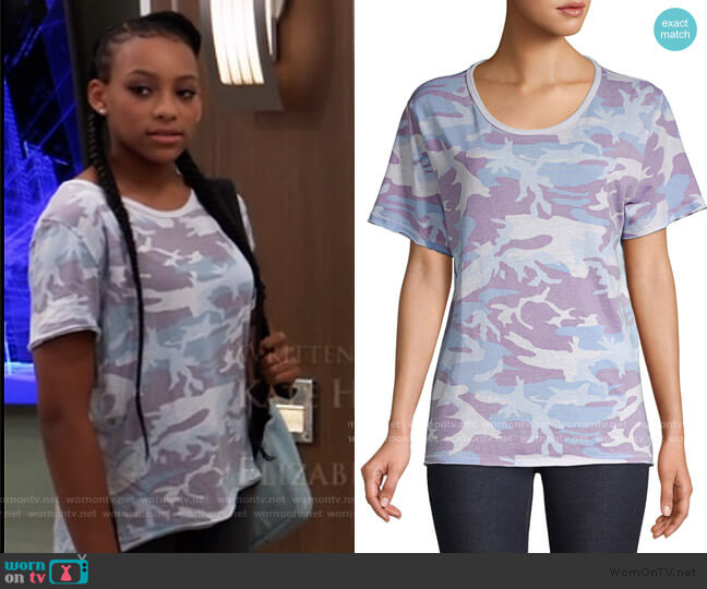 Army Tee by Free People worn by Trina (Sydney Mikayla) on General Hospital