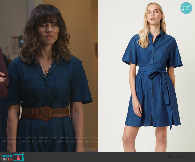 Leila Ixie Button Shirtdress by French Connection worn by Judy Hale (Linda Cardellini) on Dead to Me