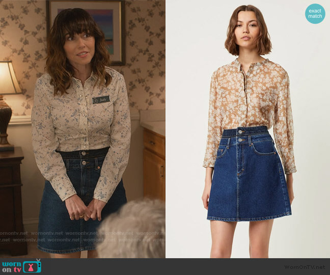 Leona Two Tone Skirt by French Connection worn by Judy Hale (Linda Cardellini) on Dead to Me
