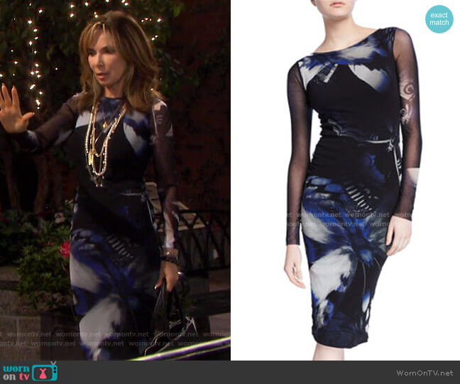 Butterfly Long-Sleeve Fitted Knee-Length Dress by Fuzzi worn by Kate Roberts (Lauren Koslow) on Days of our Lives
