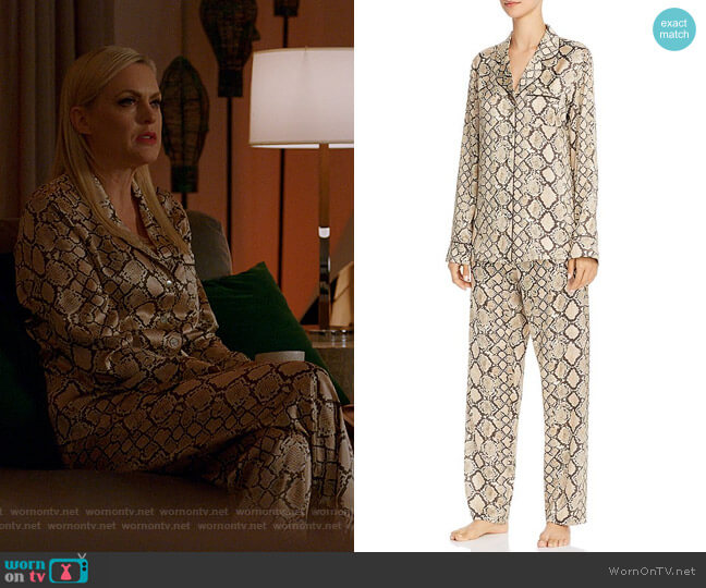 Python Print Long Silk Pajama Set by Ginia worn by Alexis Carrington (Elaine Hendrix) on Dynasty