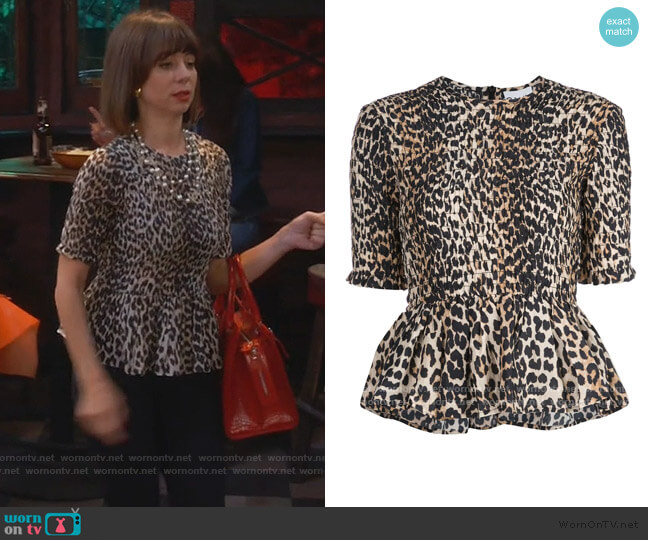 Leopard Print Blouse by Ganni worn by Elizabeth (Natasha Leggero) on Broke