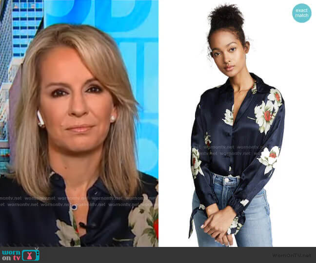 Gardenia Floral Blouse by Vince worn by Dr. Jennifer Ashton  on Good Morning America
