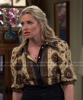 Gemma's yellow printed puff sleeve top on The Neighborhood