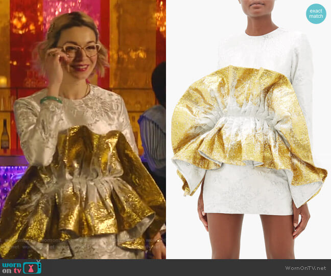 Recycled Ruffled Metallic-Jacquard Mini Dress by Germainer worn by Pepper Smith (Julia Chan) on Katy Keene