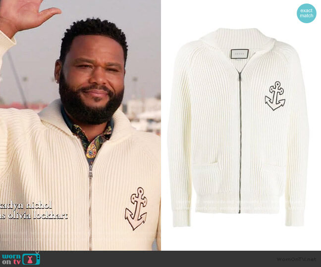 Anchor-patch Zipped Sweatshirt by Gucci worn by Andre Johnson (Anthony Anderson) on Blackish