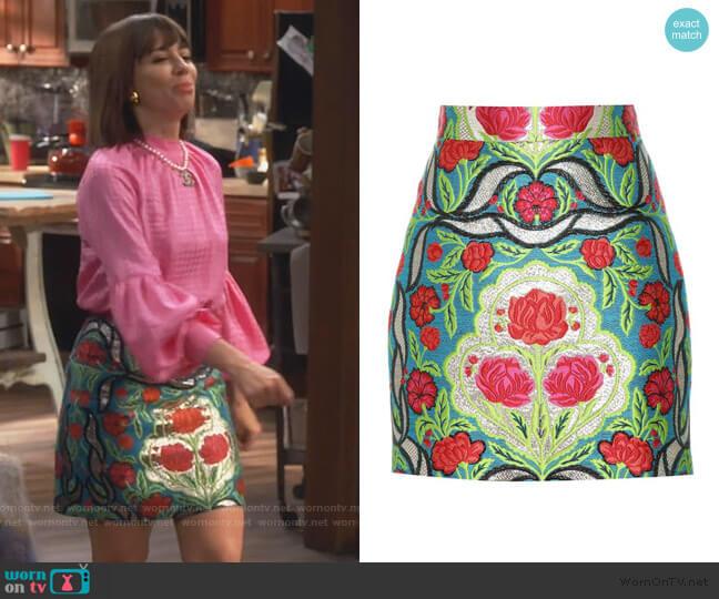 Floral Metallic Skirt by Gucci worn by Elizabeth (Natasha Leggero) on Broke