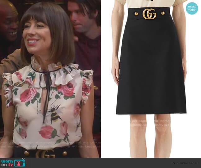 GG Logo Belt Mini Skirt by Gucci worn by Elizabeth (Natasha Leggero) on Broke