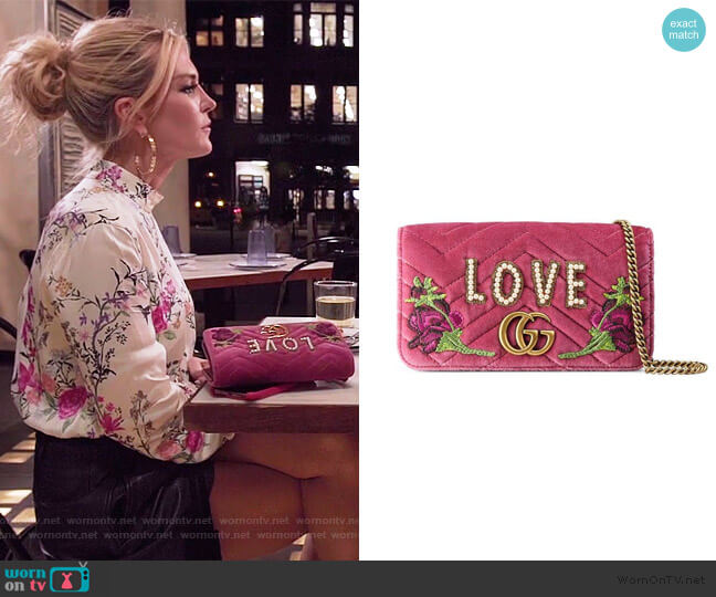 Marmont Embroidered Velvet Mini Bag by Gucci worn by Tinsley Mortimer  on The Real Housewives of New York City