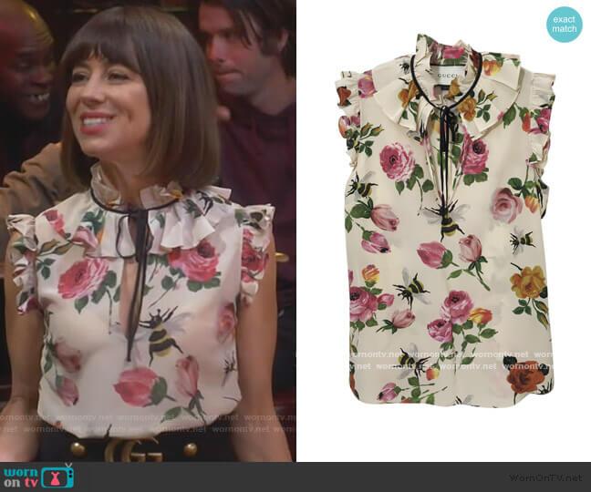 Floral tie neck top by Gucci worn by Elizabeth (Natasha Leggero) on Broke