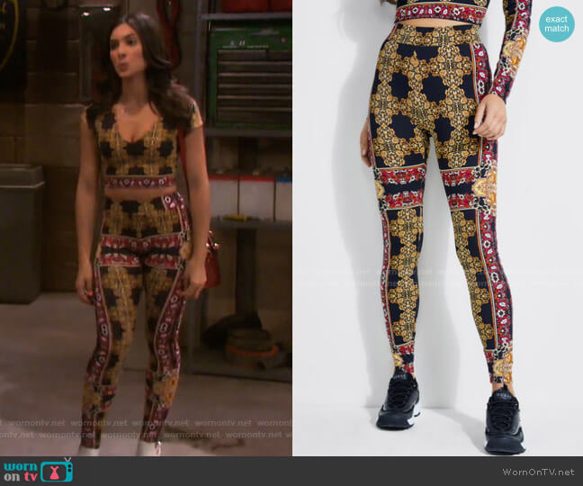 Clovia Baroque Leggings by Guess worn by Gabi Hernandez (Camila Banus) on Days of our Lives