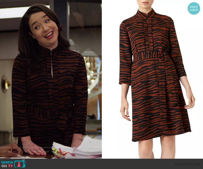 Lois Zebra Print Dress by Hobbs London worn by Marissa Gold (Sarah Steele) on The Good Fight