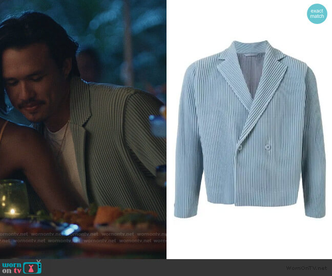 Pleated Double Breasted Jacket by Homme Plisse Issey Miyake worn by Alexander Hodge on Insecure