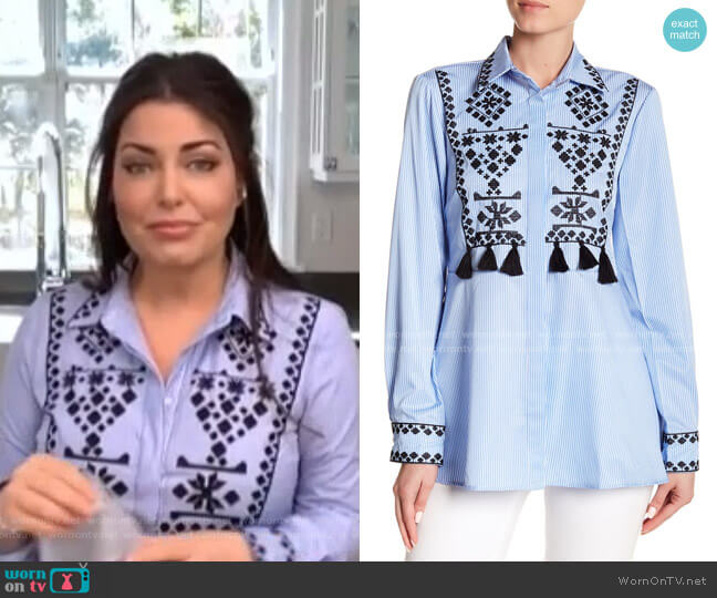 Tassel Trim Embroidered Button Down Shirt by Haute Rogue worn by Bobbie Thomas on Today Show