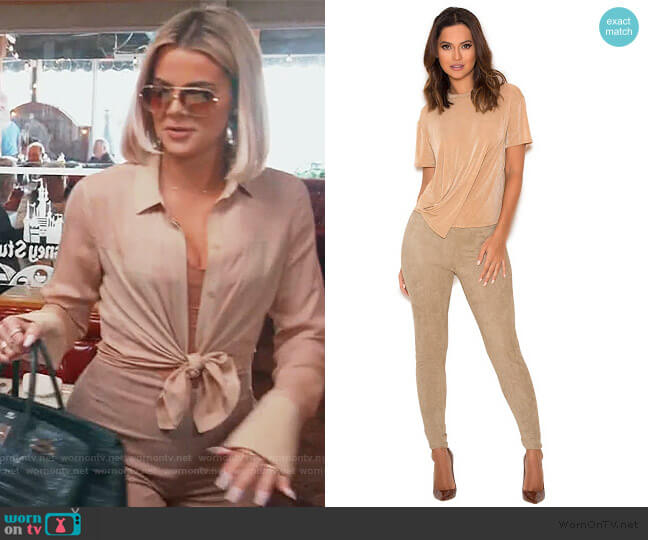 Kaman Suede Leggings by House of CB worn by Khloe Kardashian  on Keeping Up with the Kardashians