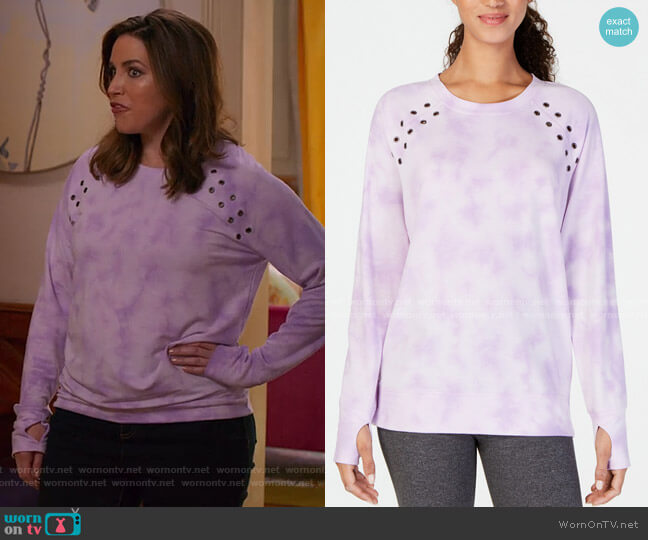 Tie-Dyed Grommet-Trimmed Top by Ideology worn by Sara Chase on Unbreakable Kimmy Schmidt