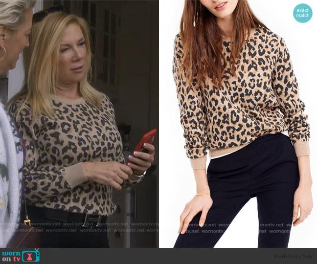 Cheetah Print Merino Wool Sweatshirt by J. Crew worn by Ramona Singer  on The Real Housewives of New York City