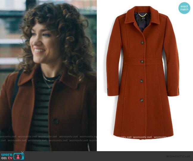 Classic Lady Italian Double Cloth Wool Blend Day Coat by J. Crew worn by Bonnie Barella (Sarah Stiles) on Billions