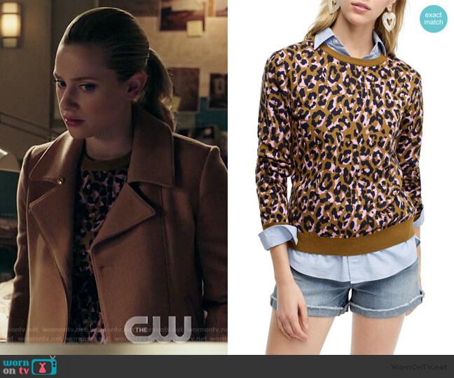 Leopard Print Crewneck Sweater by J. Crew worn by Betty Cooper (Lili Reinhart) on Riverdale