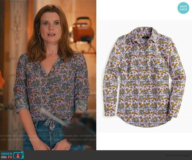 Silk Button up Shirt in Tiger Floral by J. Crew worn by Maddie Townsend (JoAnna Garcia Swisher) on Sweet Magnolias