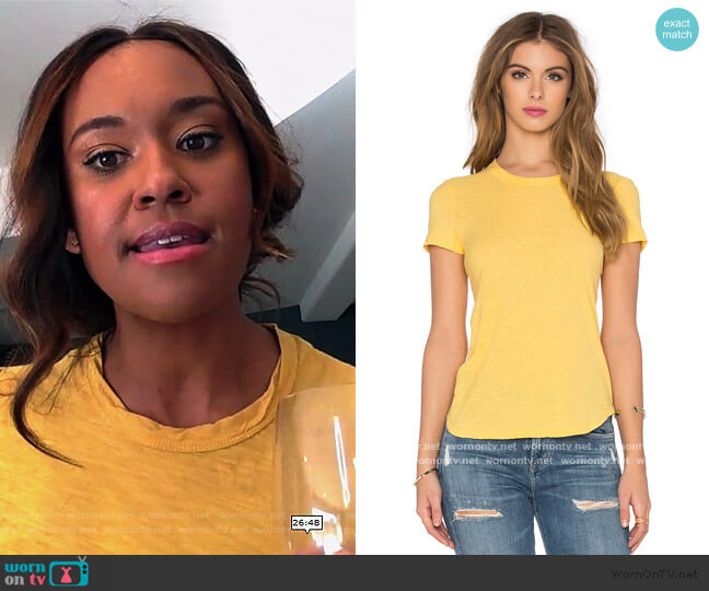 Sheer Slub Crewneck Tee by James Perse worn by Rachel Audubon (Michelle Bathe) on All Rise