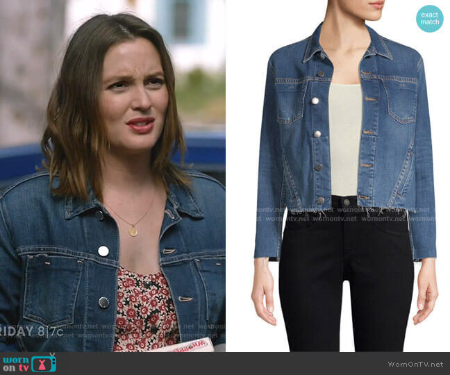 Janelle Raw Edge Jacket by L'Agence worn by Angie (Leighton Meester) on Single Parents
