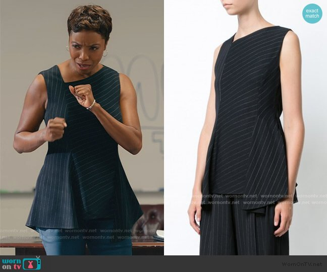 Black Pinstripe Asymmetric Top by Jason Wu worn by Helen Decatur (Heather Headley) on Sweet Magnolias